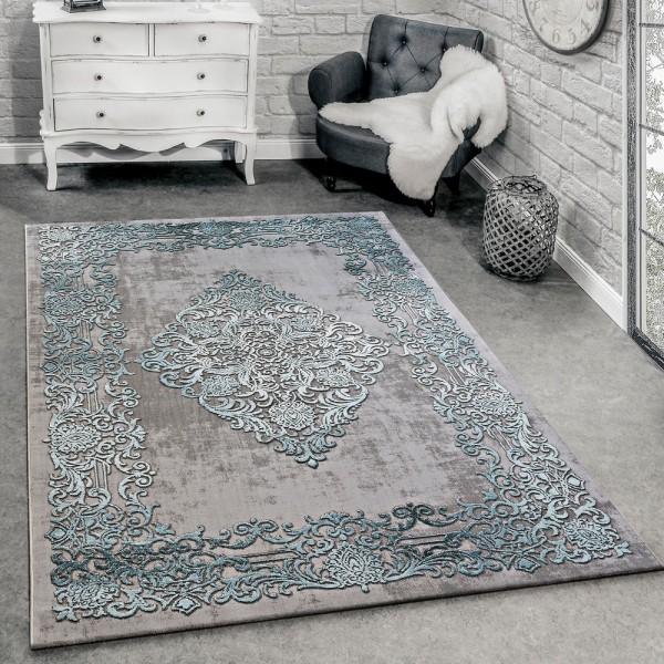 Designer Teppich Modern Wohnzimmer Teppiche 3D Barock Muster In Grau Türkis Creme