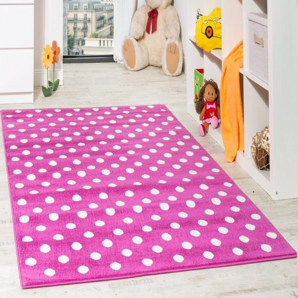 Kinderteppich Rosa Kinderzimmer Teppich Spielteppich Gepunktet in Pink