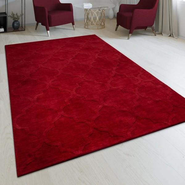 Handgefertigter Wohnzimmer Teppich Marokkanisches Design Orient Einfarbig Rot