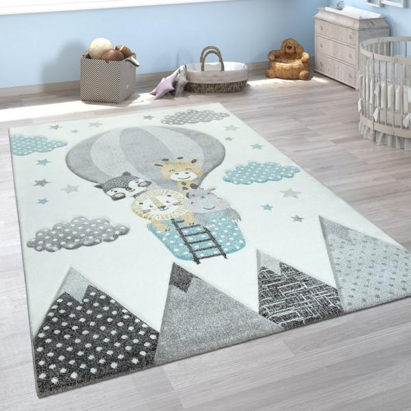 Kinderzimmer Teppich Blau Grau Heißluftballon Wolken Tiere 3-D Design Pastell