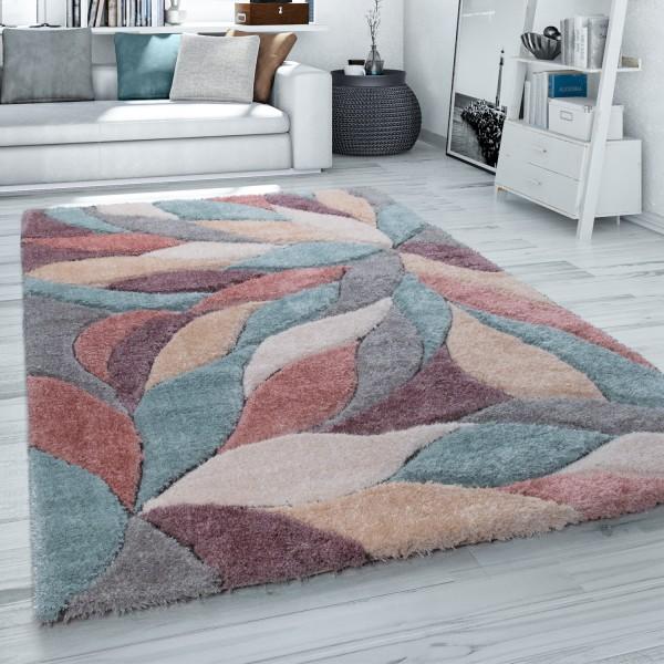 Hochflor Teppich Wohnzimmer Shaggy 3D Effekt Blumen