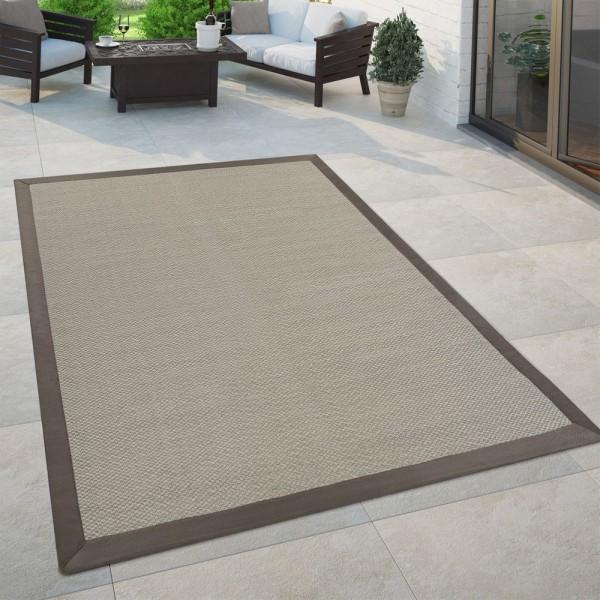 In- & Outdoor Flachgewebe Teppich Modern Natürlicher Look Einfarbig in Beige