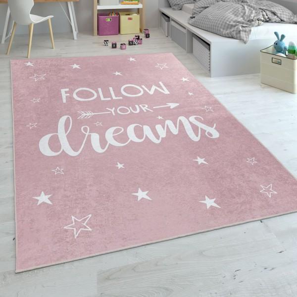 Kinderteppich, Flachgewebe Für Kinderzimmer, Mit Spruch-Motiv Und Sternen, Rosa