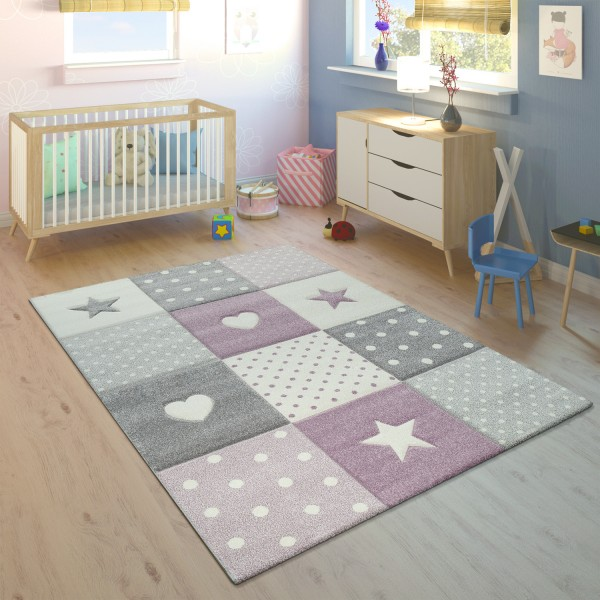Children's Rug Checked Hearts Stars Assorted Colours And Sizes