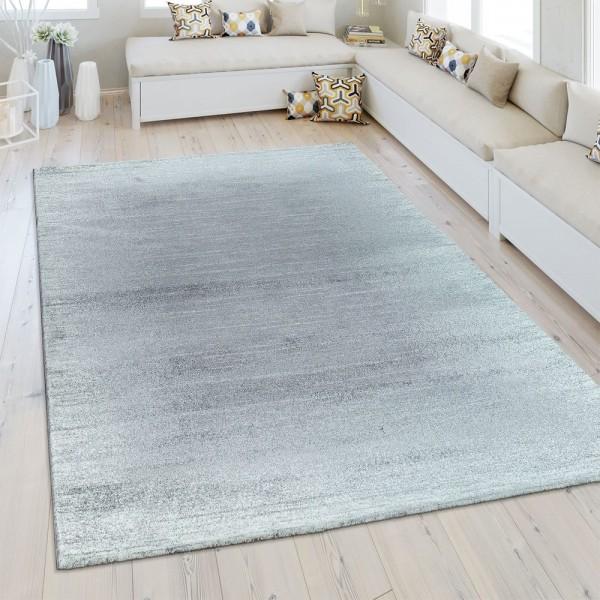 Heatset Teppich Einfarbig Silber Grau