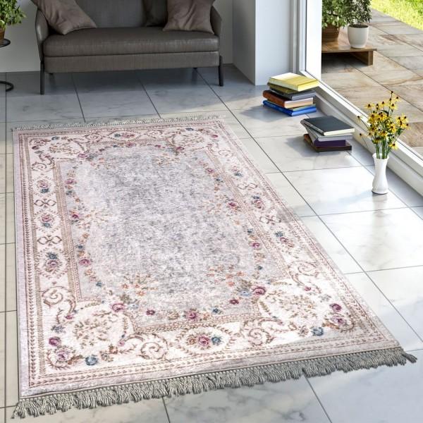 Designer Teppich Wohnzimmer Teppiche Orient Bedruckt Bordüre Floral Creme