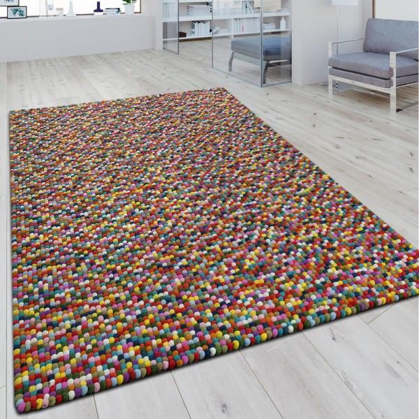 Wollfilzteppich 3D Mosaikoptik Multicolor
