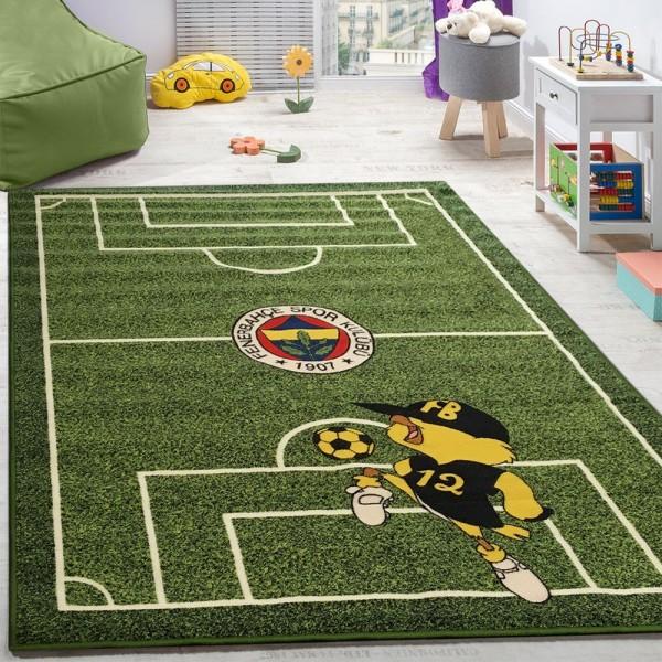 Kinderteppich Spielzimmer Fußball Teppiche Fußballplatz Maskottchen Bedruckt Grün