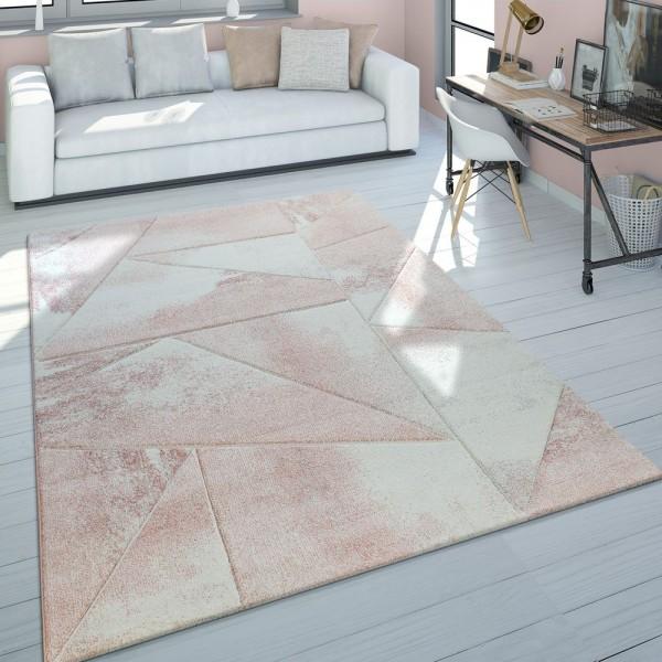 Teppich Wohnzimmer Rosa Kurzflor Pastellfarben Marmor Design Meliert 3-D Muster