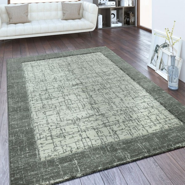 Kurzflor Teppich Bordüre Farbverlauf Grau