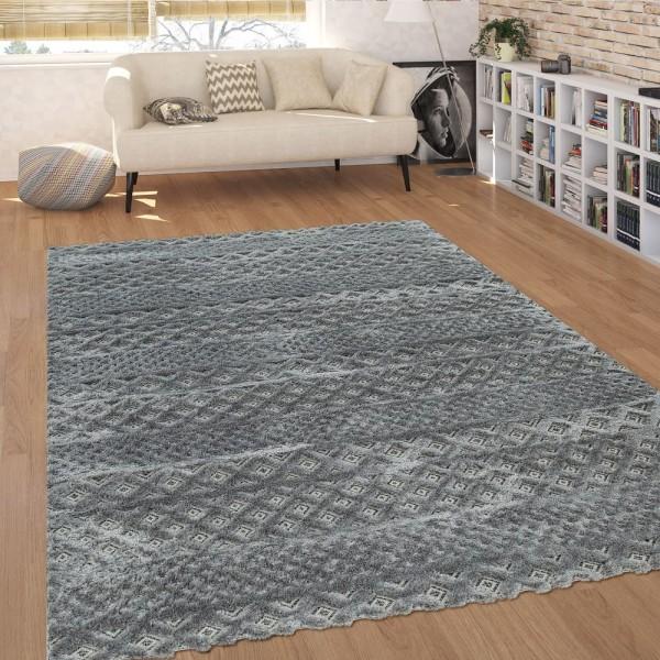 Moderner Kurzflor Wohnzimmer Teppich Zickzack-Muster Hoch-Tief-Struktur In Grau