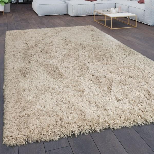 Teppich Wohnzimmer Shaggy Hochflor Flokati Modern Einfarbig In Beige