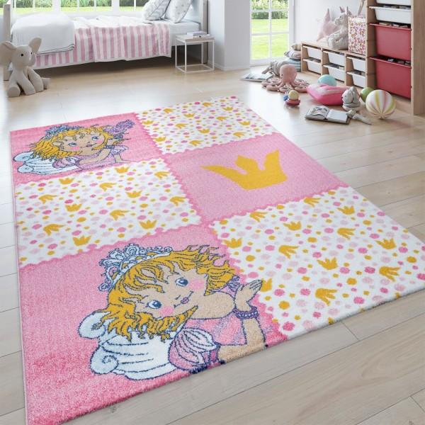Kinder-Teppich, Kurzflor Für Kinderzimmer, Lilifee-Motiv, Karo in Rosa Weiß