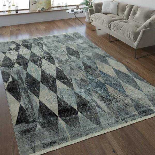 Designer Teppich Rauten Muster Silber Grau