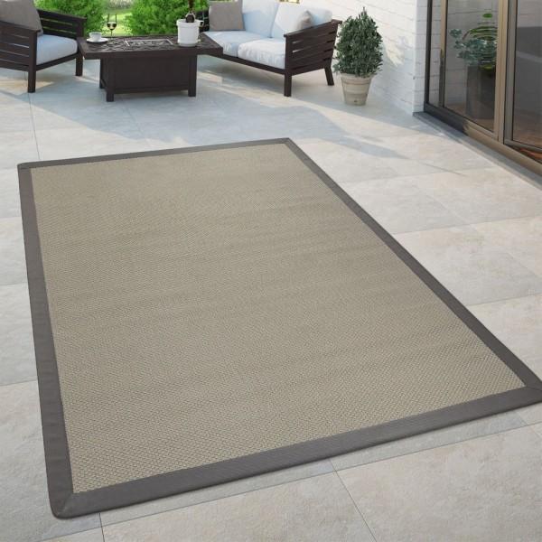 In- & Outdoor Flachgewebe Teppich Modern Natürlicher Look Einfarbig In Creme