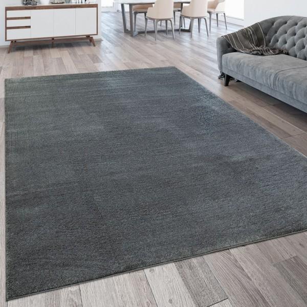 Wohnzimmer-Teppich, Einfarbig, Waschbarer Kurzflor-Teppich In Anthrazit Grau