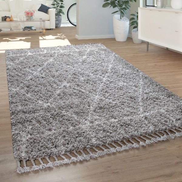 Hochflor Teppich Grau Wohnzimmer Orientalisches Muster Berber Stil Weich Shaggy