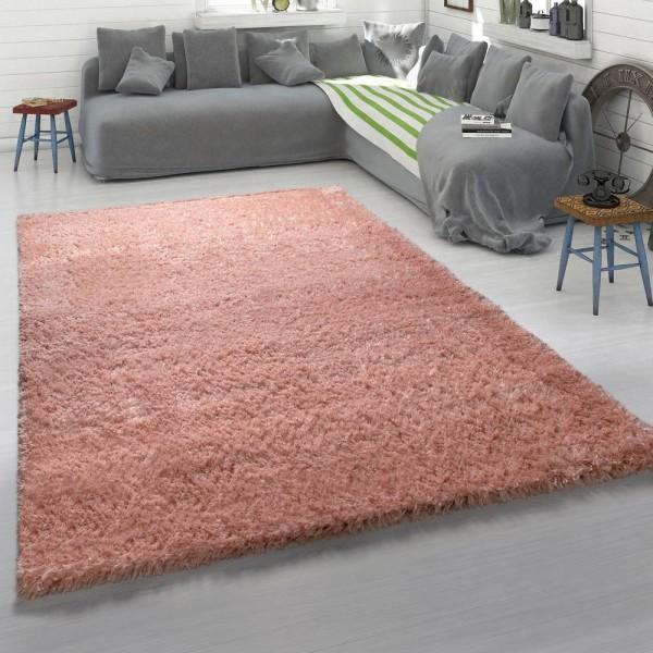 Hochflor-Teppich, Kuschelig Weicher Moderner Flokati-Teppich, Einfarbig In Rosa