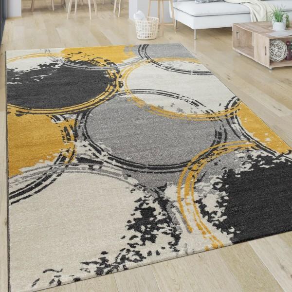 Teppich Wohnzimmer Muster Modern Kurzflor Abstrakt Kreise In Gelb Grau Weiß