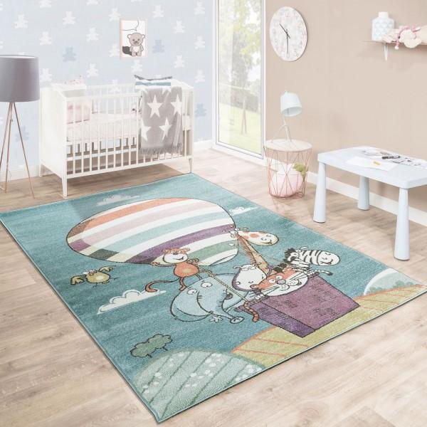 Kinderteppich Spielzimmer Kunterbund Zootiere Luftballon Verspielt Mehrfahrbig