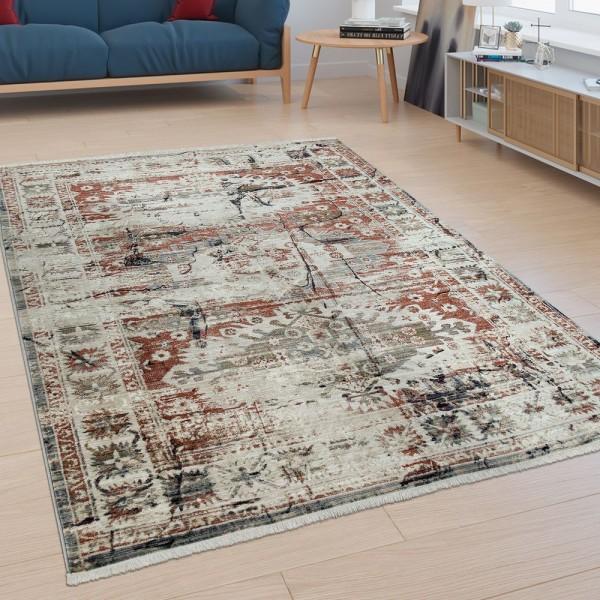 Kurzflor Wohnzimmer Teppich Bordüre Orient Design Modern Used-Look Bunt