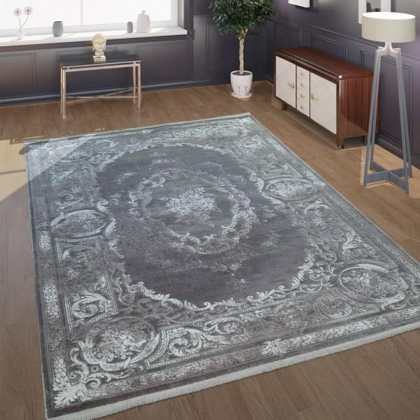 Wohnzimmer-Teppich Im Barock-Design Mit klassischen Vintage-Ornamenten In Grau
