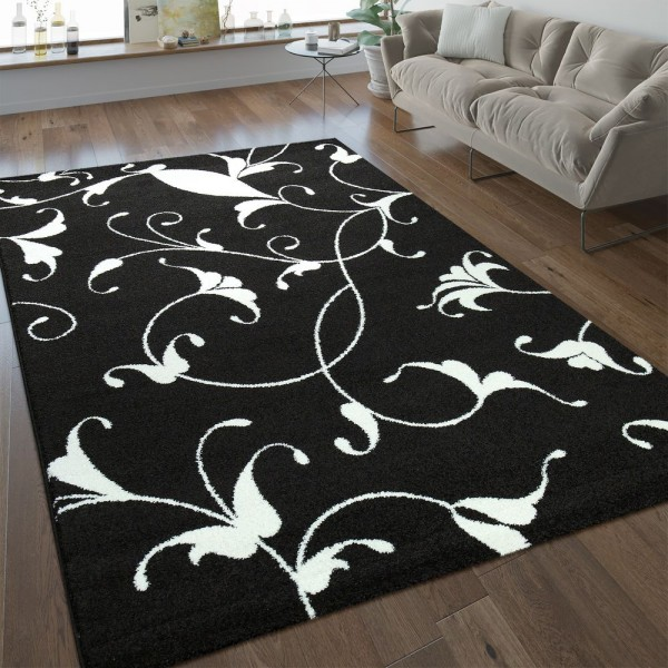 Moderner Kurzflor Teppich Florales Design Schwarz