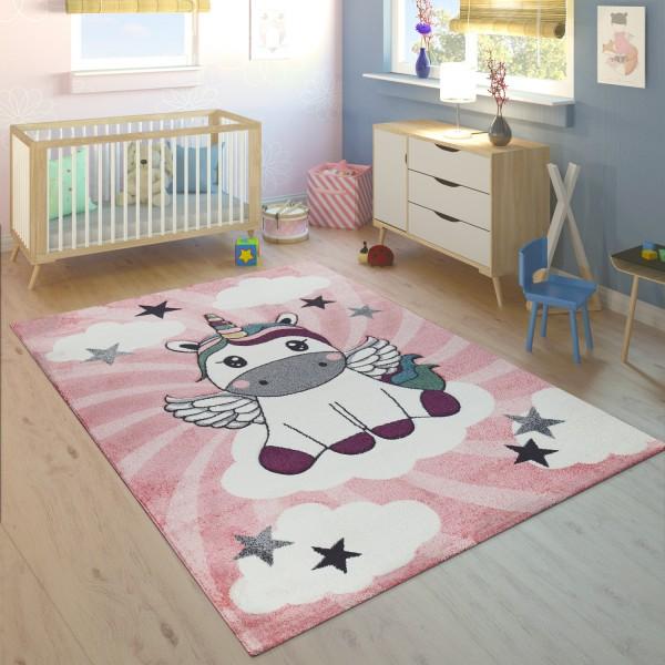 Teppich Kinderzimmer Mädchen Einhorn Wolken