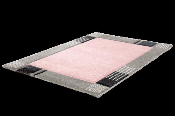 Moderner Kurzflor Teppich Bordüre Pink