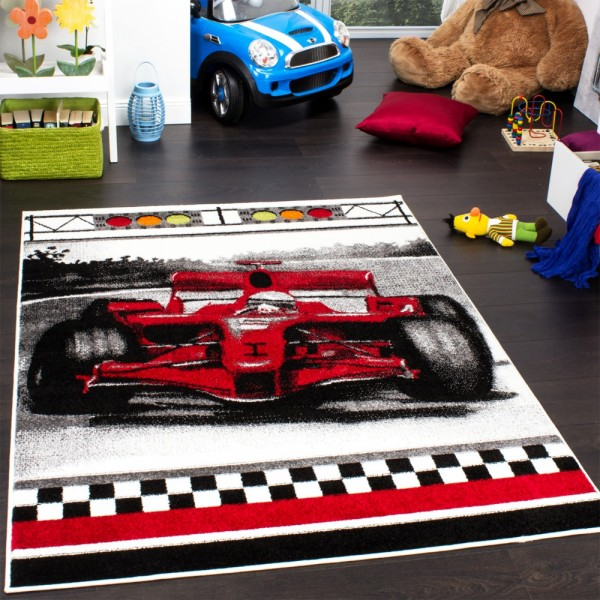 Teppich Kinderzimmer Auto Rennwagen Spielteppich Kinderteppich für Jungen in Rot