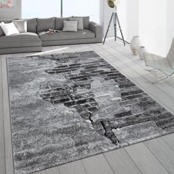 Wohnzimmer Teppich Grau Stein Design Beton Optik 3-D Muster Robust Kurzflor