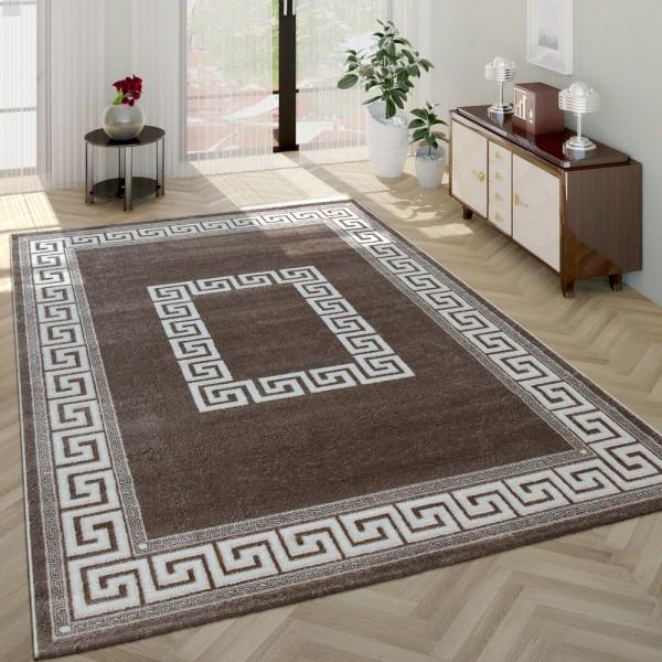 Moderner Kurzflor Wohnzimmer Teppich Orientalisches Muster Bordüre Beige Creme