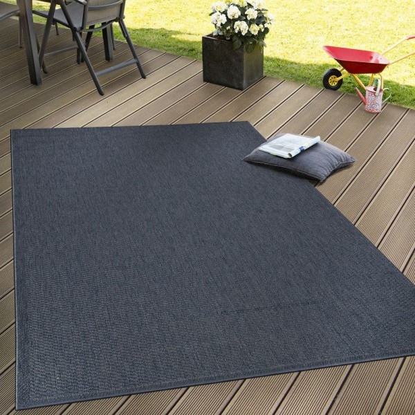 In- & Outdoor Flachgewebe Teppich Terrassen Teppiche Natürlicher Look Navy Blau