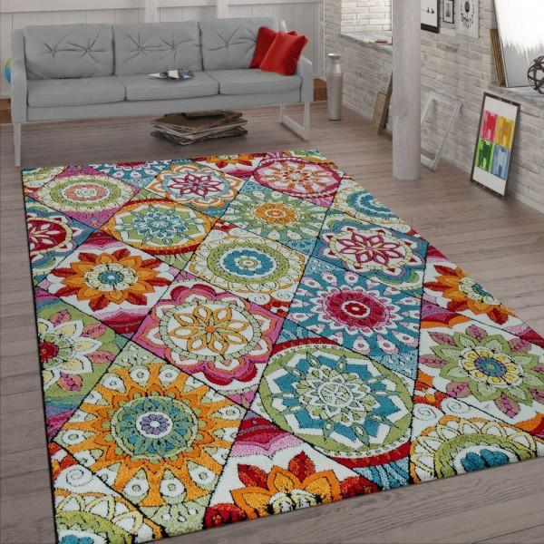 Kurzflor Teppich Wohnzimmer Bunt Retro Design Mandala Muster Design Boho Stil