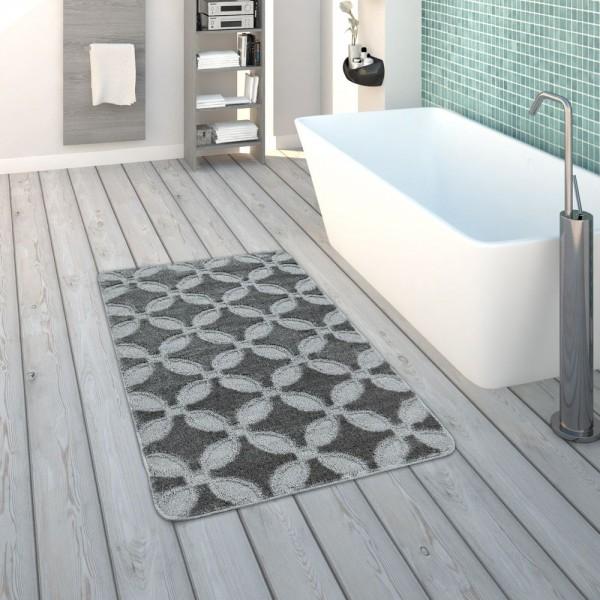 Badematte, Kurzflor-Teppich Für Badezimmer Einfarbig Rutschfest, In Grau