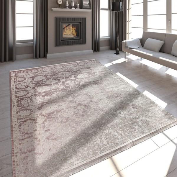 Hochwertiger Wohnzimmer Teppich Moderne Satin Optik Barock Design Fransen Rosa