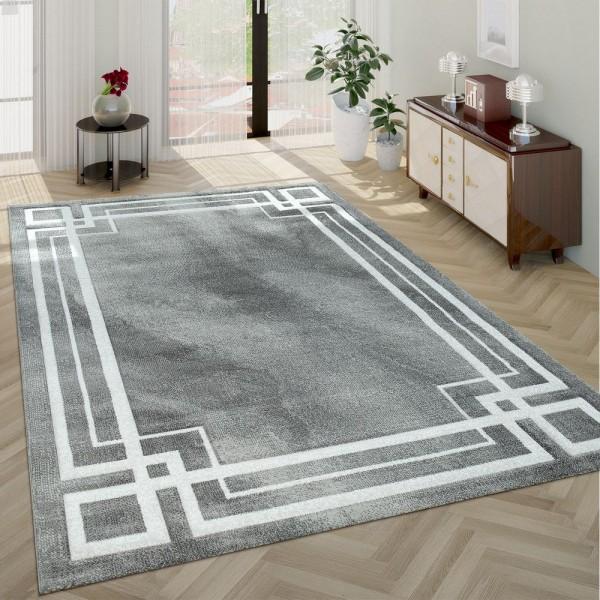 Moderner Hochwertiger Kurzflor Wohnzimmer Teppich Klassisch Bordüre Grau Weiß