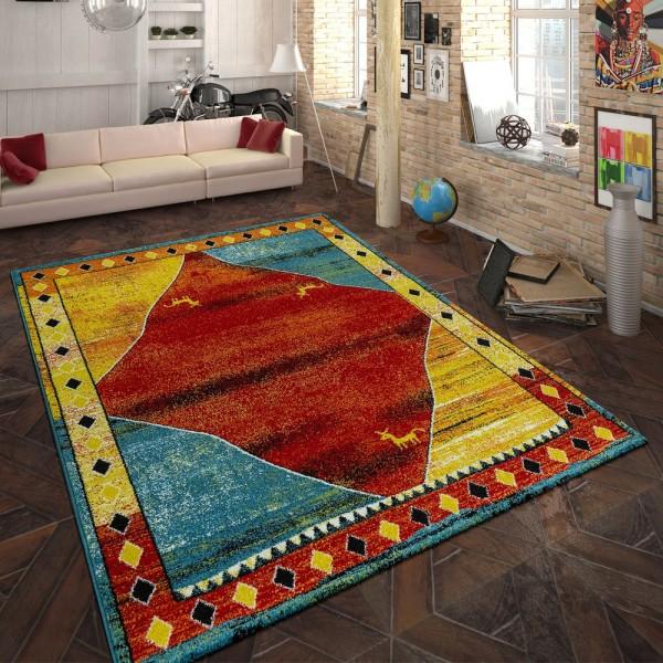 Heatset Teppich Gabbeh Indianisches Muster Multicolor