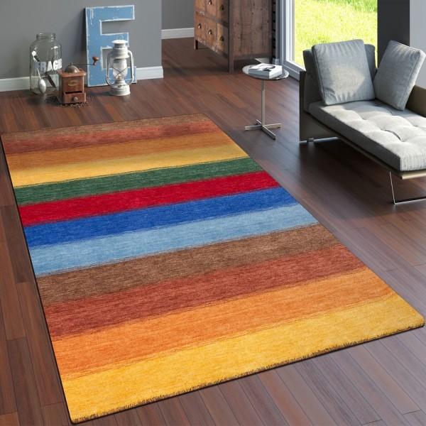 Teppich Handgewebt Gabbeh Hochwertig 100% Wolle Meliert Balken Multicolor