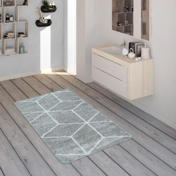 Badematte, Kurzflor-Teppich Für Badezimmer Mit Rauten-Muster In Grau Weiß