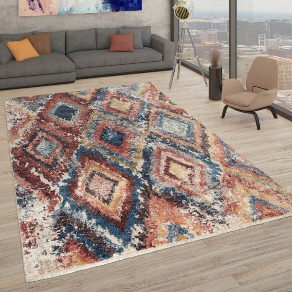 Kurzflor Teppich Blau Rot Gelb Bunt Wohnzimmer Weich Used Look Rauten Design