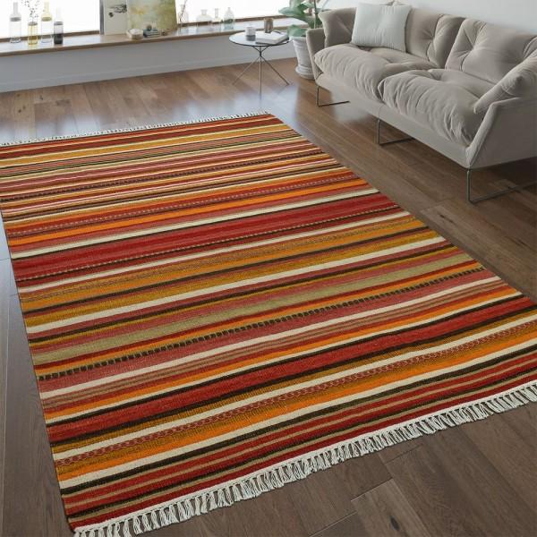 Nomaden Teppich Streifen Orientalisch Terracotta