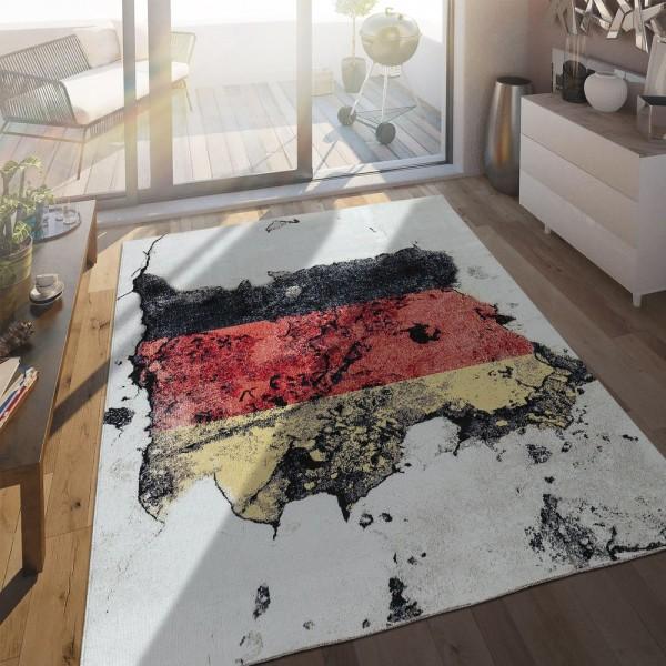 In- & Outdoor Terrassen Teppich Deutsche Flagge Moderne Beton Optik
