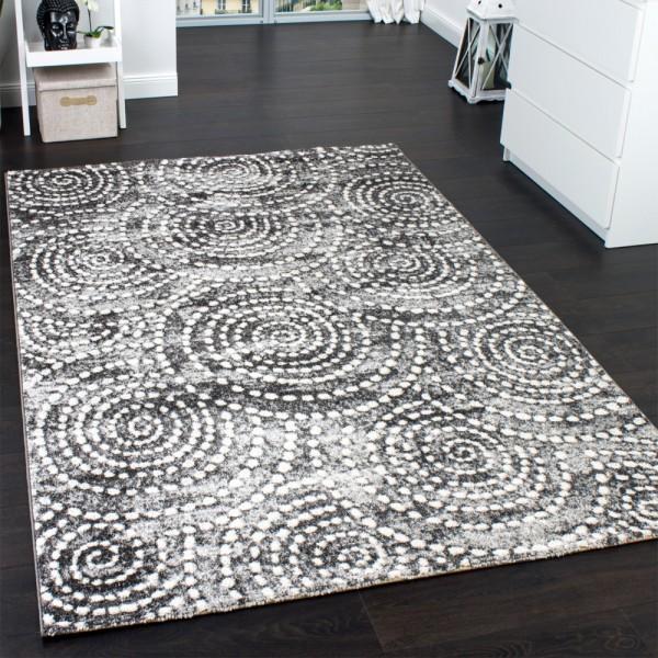 Velours Kurzflor Teppich - Winchester - Tepich Kreis Muster in Grau