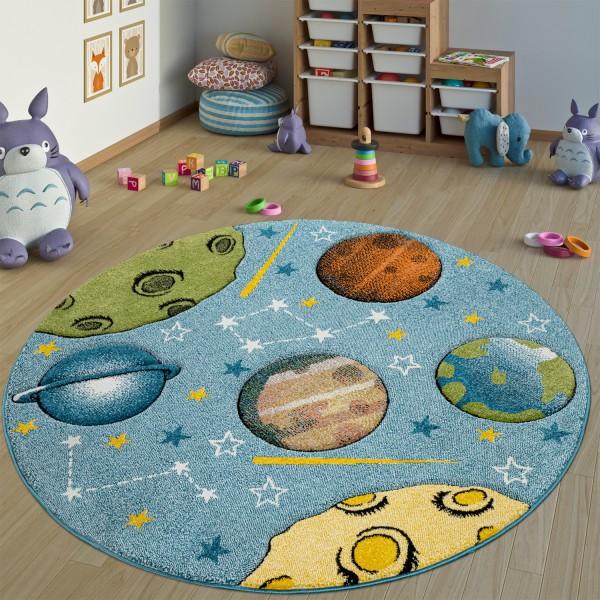 Vloerkleed Kinderkamer Rond Speelkleed Planeten
