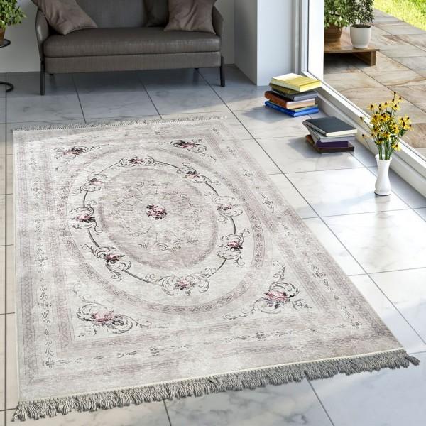 Designer Teppich Wohnzimmer Teppich Orient Bedruckt Bordüre Floral Pastell Beige