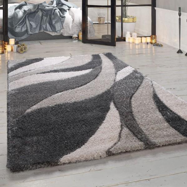 Hochflor Teppich Grau Wohnzimmer Shaggy Weich Flauschig Wellen Design Robust