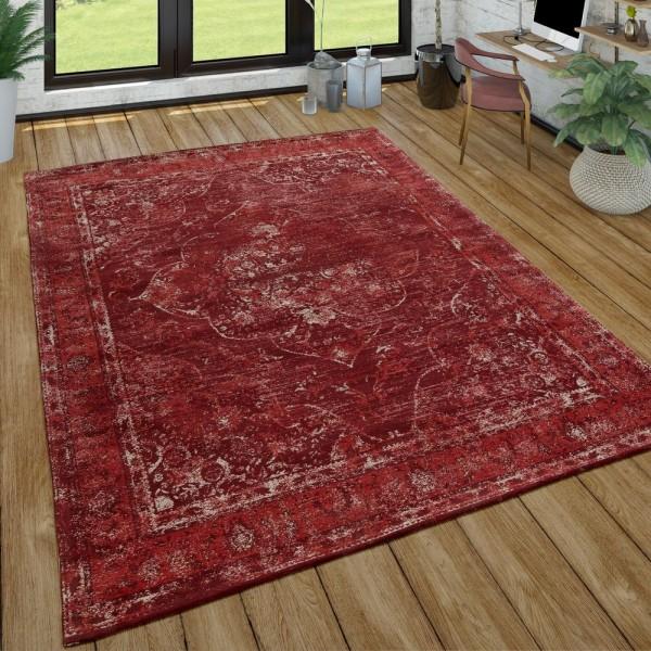 Orient Kurzflor Teppich Wohnzimmer Shabby-Chic-Look Orientalisches Design In Rot