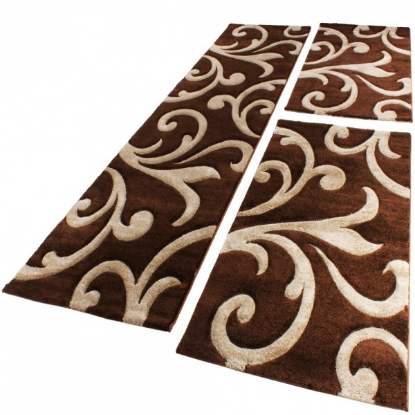 Designer Rug Baroque Pattern Set of 3 Brown