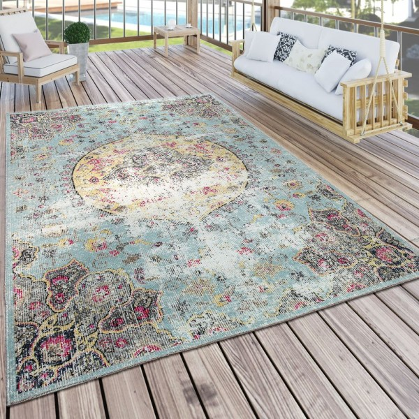 In- & Outdoor Teppich Modern Orient Print Terrassen Teppich Wetterfest Türkis